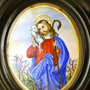 Antique French Napoleon III Devotional Gouache Painting
