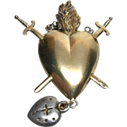Rare Antique French Convent Pierced Sacred Heart Agnus Dei Ex Voto