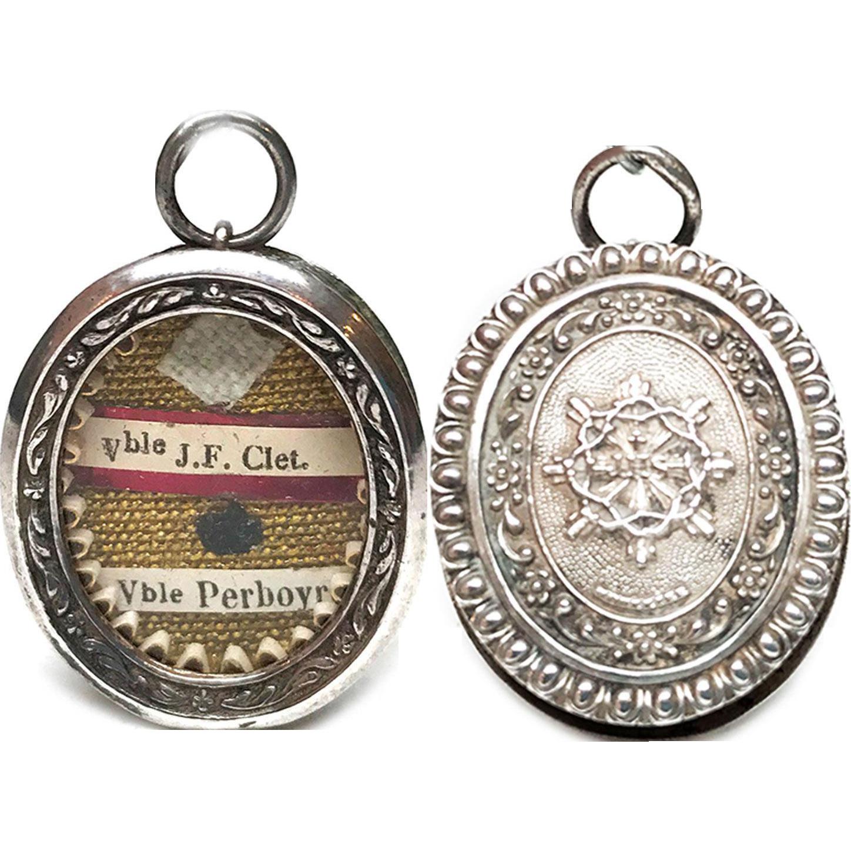Antique Nineteenth Century Silver Reliquaire Reliquary Pendentif IHS