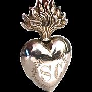 Antique Nineteenth Century French Silver Vermeil Sacred Heart Ex Voto