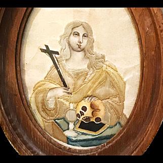 Antique Nineteenth Century Framed Religious Devotional Needlework Mary Magdelene