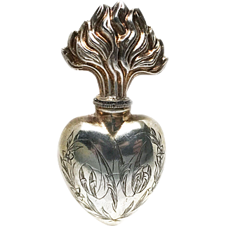 Antique Nineteenth Century French Silver Sacred Heart Holy Water Flacon