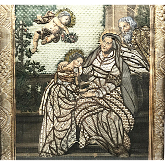 Magnificent Antique French Eighteenth Century Framed Silk and Paper Convent Work, Ste. Anne
