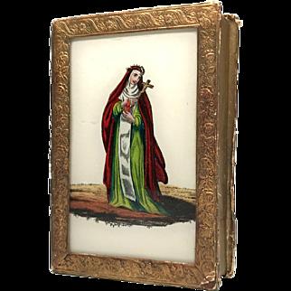 Antique Nineteenth Century French Religious Eglomise Box