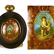 Antique Napoleon III French Gilt Paperolle Devotional Reliquaire