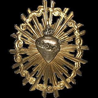Antique French Gilded Cast Bronze Eighteenth Century Pierced Sacred Heart Rayonnant