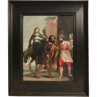 """Antique 17th Century French Painting on Copper Panel """"Mary and Joseph Enter Bethlehem"""""""