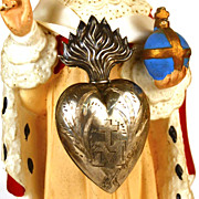 Antique 19th c. French Silver Flaming Heart Ex Voto Reliquaire/Reliquary