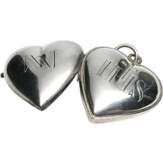 Antique 19th Century French Double Face Engraved Silver Pectoral Sacred Heart