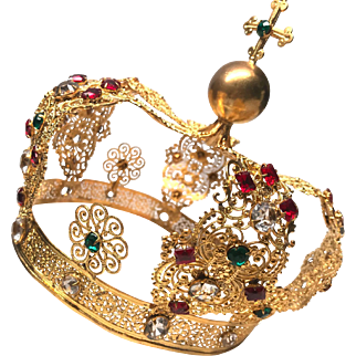 Large Spectacular Antique Nineteenth Century French Gilded Filigree Religious Couronne Royale