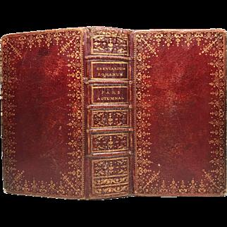 Antique Louis XVI Era Red Morocco Ecclesiastic Brevriarium Binding circa 1775