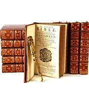"Rare Antique Eighteenth Century French ""Sainte Bible"" circa 1730"