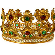 Impressive Gilded Bronze LARGE Santos Crown Royale with Large Strass/Glass Stones