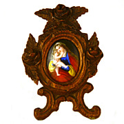 Miniature Antique 19th Century French Devotional Frame w/Hand Painted Enamel Plaque