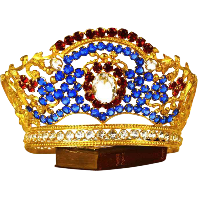 Sumptuous Antique Santos Gilded Brass Bejeweled  Diadem Crown