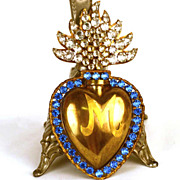 Antique 19th Century Sacred Heart Ex Voto Reliquary