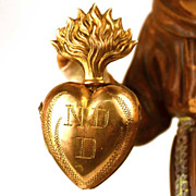 Small Antique 19th Century Gilded Brass Sacred Heart Ex Voto Reliquary