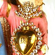Antique 19th Century Sacred Heart Gilded Brass Ex Voto Reliquary