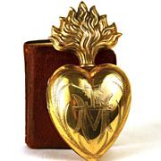 Antique 19th Century Gilded Brass Sacred Heart Ex Voto Reliquary