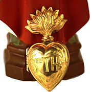 Antique 19th Century French Gilded Brass  Sacred Heart Ex Voto Reliquary