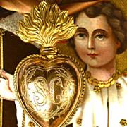 Antique 19th Century Gilded Brass Sacred Heart Ex Voto