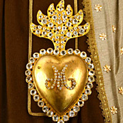 Glorious Large Antique 19th c. Gilded Brass Sacred Heart Ex Voto Reliquary with Clear Stones