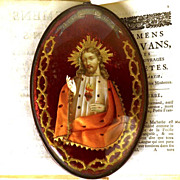 French Framed Sacred Heart Ex Voto/Reliquary Souvenir of Sacre Coeur - Red Tag Sale Item
