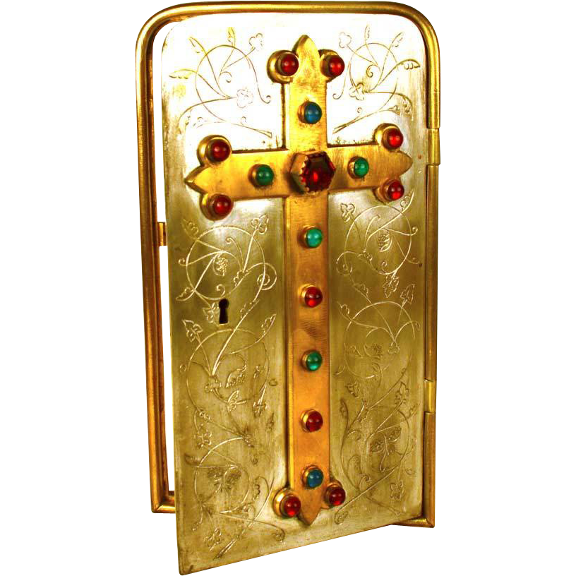 Rare Antique 19th Century French Bronze/Bronze Argente Tabernacle Door