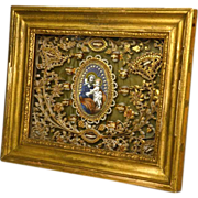 Magnificent Antique Napoleon III Framed Paperolle Quill Scroll Work Reliquary
