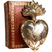 Grand LARGE Nineteenth Century Sterling Silver French Ex Voto Reliquary with Vermeille Interior