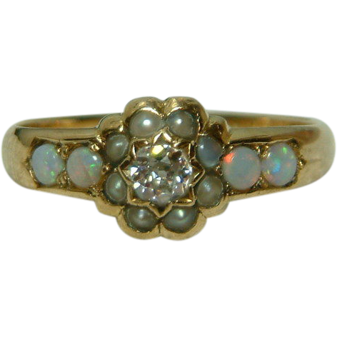 Superb victorian birmingham 1893 18ct gold diamond opal for Sell jewelry birmingham al