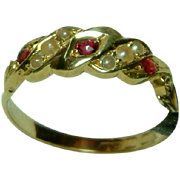 Very Attractive Antique 18ct Gold Ruby + Split Seed-Pearl Gemstone Ring.