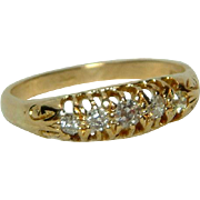 Lovely Antique 18ct Solid Gold 5-Stone Diamond Gemstone Ring{0.25Ct Weight}