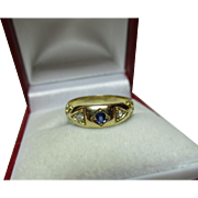 Ornate Antique 18ct Solid Gold 3-Stone Diamond + Sapphire Gemstone Ring