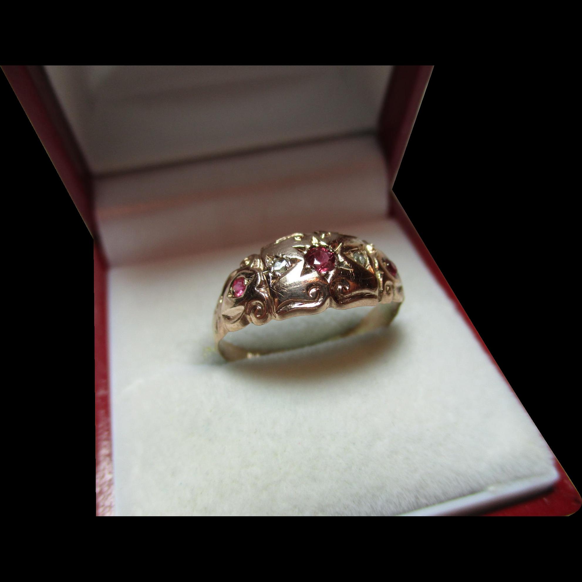Pretty Antique Birmingham 1911 9ct Solid Rose Gold 5 Stone