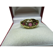 Decorative Antique{Chester 1914} 18ct Gold 5-Stone Diamond + Ruby Gemstone Ring.