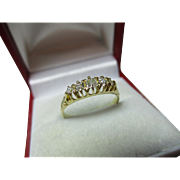 Antique 18ct Solid Gold 5-Stone Diamond Gemstone Ring{0.2ct Weight}