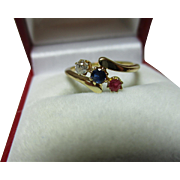 Decorative Antique 18ct Solid Gold Diamond, Sapphire + Ruby Gemstone 'Crossover' Ring{0.1ct Diamond Weight}