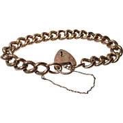 Pretty Edwardian{Birmingham 1907} 9ct Rose Gold 'Chased Link' Bracelet With Sweetheart Padlock + Safety Chain{19.7 grams}
