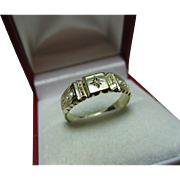 Decorative Antique 15ct Gold 7-Stone Diamond + Split Seed-Pearl Gemstone Ring.