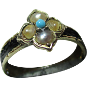 Decorative Antique 15ct Gold Black Enamel, Turquoise + Split Seed-Pearl Gemstone Memorial Ring.