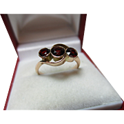 Attractive{Chester 1919} 9ct Solid Rose Gold 3-Stone Garnet Gemstone Crossover Ring