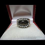 Decorative Georgian{Circa 1806} 15ct Rose Gold Split Seed-Pearl Gemstone Memorial Ring.