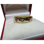 Attractive Antique 18ct Solid 3-Stone Gold Diamond + Ruby Gemstone Ring