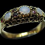 Decorative Victorian{Birmingham 1874} 15ct Gold Opal + Garnet Gemstone Ring