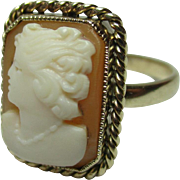 Decorative Antique 15ct Solid Gold 'Rectanglar Shaped' Cameo Gemstone Ring