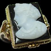 Exquisite Antique 15ct Solid Gold 'Rectangular Shaped' Cameo Gemstone Ring.