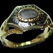 Beautiful Victorian{Birmingham 1851} 18ct Gold 'Black Enamel' Memorial Ring.