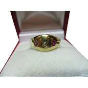Victorian{Birmingham 1885} 15ct Gold 3-Stone Diamond + Ruby Gemstone Ring.