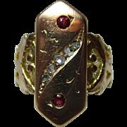 Superb Georgian 18ct Solid Gold Diamond + Ruby Gemstone Ring